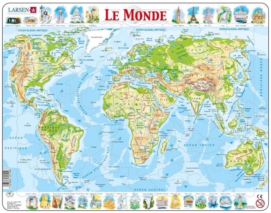 puzzle cadre carte du monde en fran ais larsen k4 fr. Black Bedroom Furniture Sets. Home Design Ideas