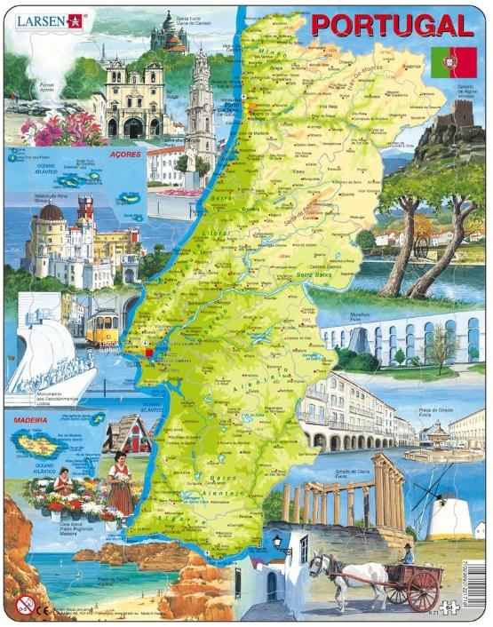 puzzle cadre carte du portugal en portugais larsen k71. Black Bedroom Furniture Sets. Home Design Ideas