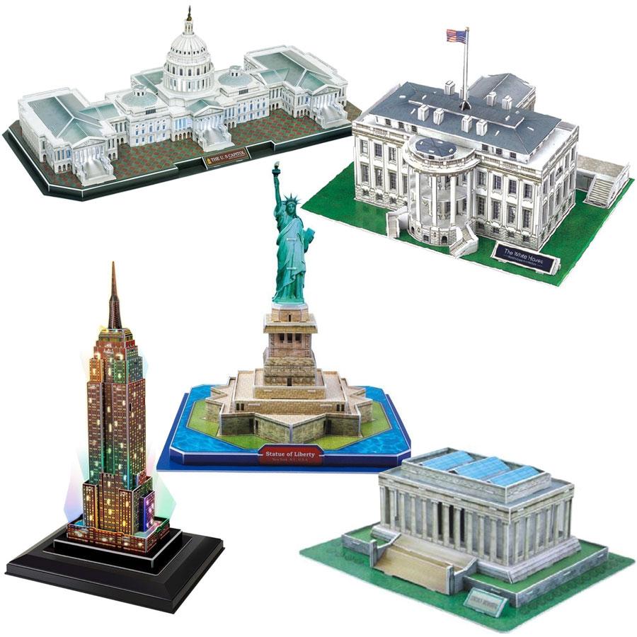 5 Puzzles 3D - Set Etats-Unis Cubic Fun