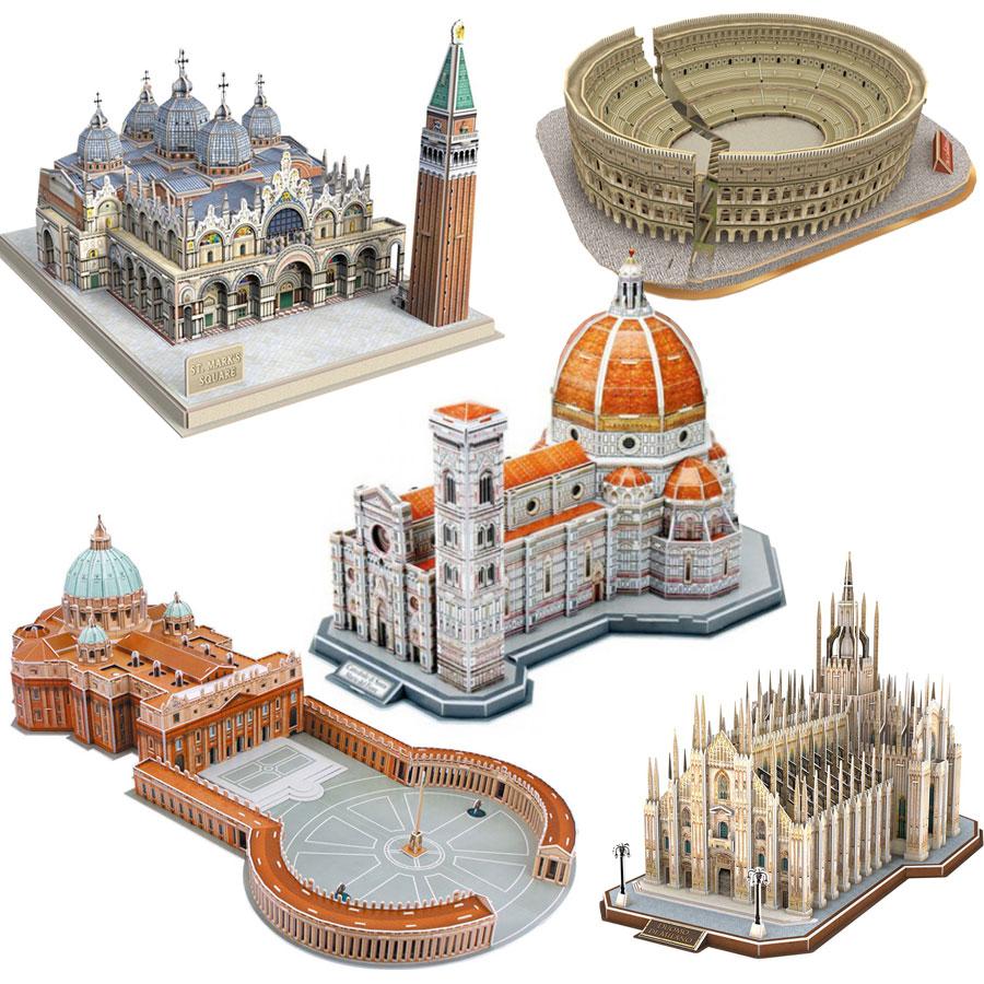 5 Puzzles 3D - Monuments d´Italie Cubic Fun