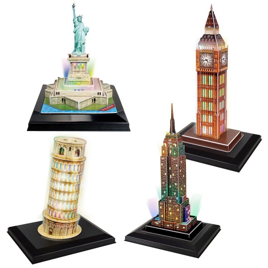 4 Puzzles 3D - Set LED Towers Cubic Fun