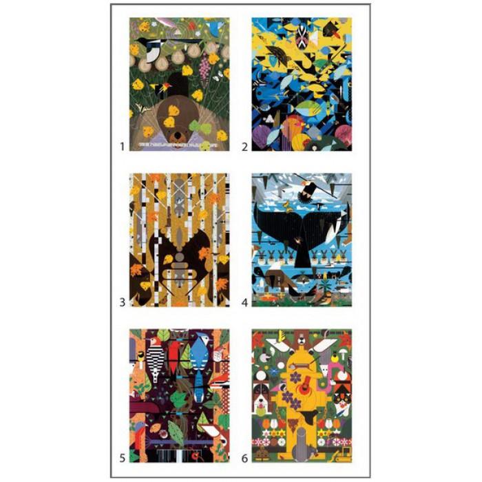 Puzzle Charley Harper - 12 cubes pour six oeuvres d´art Pomegranate