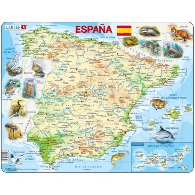 puzzle cadre carte de l 39 espagne en espagnol larsen k84 es 58 pi ces puzzles cartes du. Black Bedroom Furniture Sets. Home Design Ideas