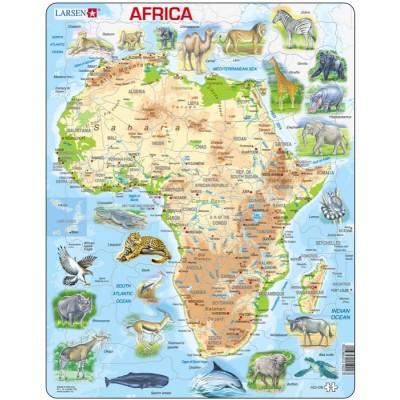 Carte Afrique Anglais.Puzzle Cadre Carte De L Afrique Et Ses Animaux En Anglais