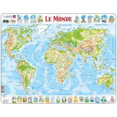 puzzle cadre carte du monde en fran ais larsen k4 fr 80 pi ces puzzles cartes du monde et. Black Bedroom Furniture Sets. Home Design Ideas