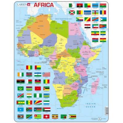 puzzle cadre carte de l 39 afrique en anglais larsen k13. Black Bedroom Furniture Sets. Home Design Ideas