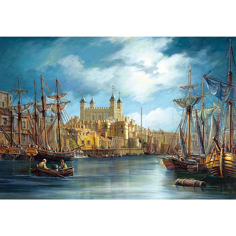 Puzzle Le lever du jour sur le port Castorland