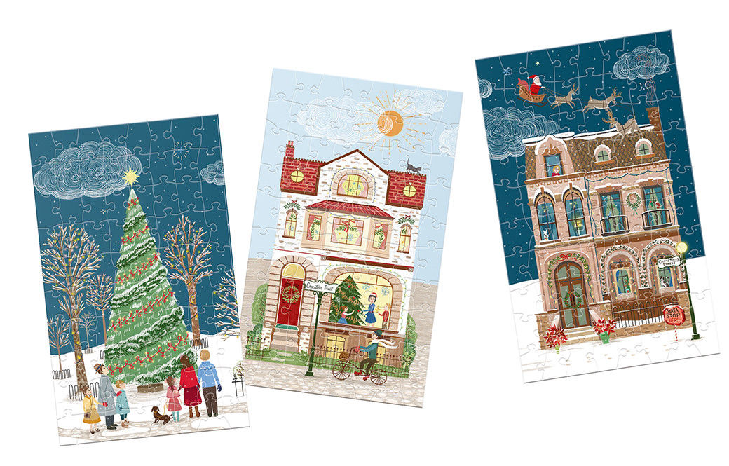 12 Puzzles 80 Pièces - Christmas Street Gibsons