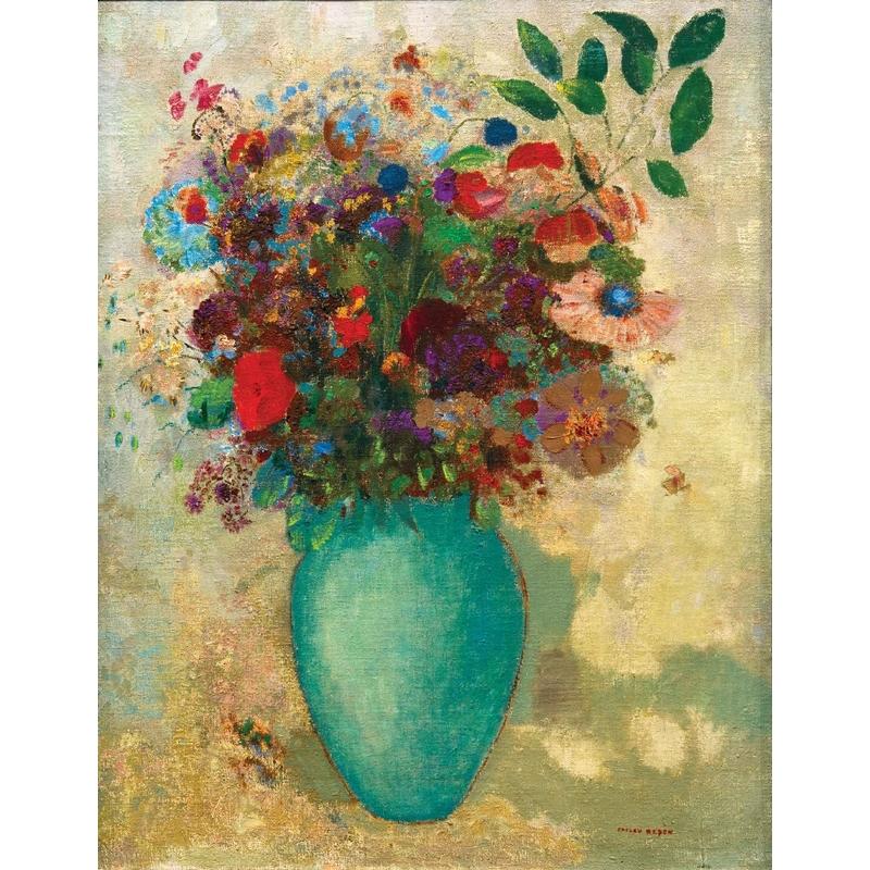 Puzzle Redon : Fleurs dans un vase turquoise Puzzle Michèle Wilson