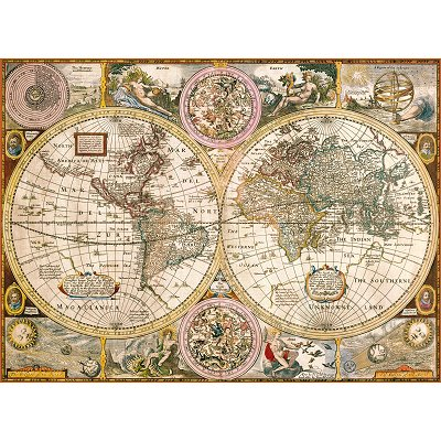 puzzle vieille carte du monde clementoni 33531 3000 pi ces puzzles cartes du monde et. Black Bedroom Furniture Sets. Home Design Ideas
