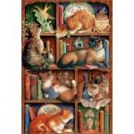 Puzzle  Cobble-Hill-50710 La Bibliothèque à Chats