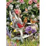 Puzzle  Cobble-Hill-51786 Oiseaux d'été sur la Chaise de Jardin