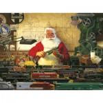 Puzzle  Cobble-Hill-52022 Pièces XXL - Tom Newsom : Le Père Noël et ses petits Trains