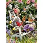 Puzzle  Cobble-Hill-57191 Oiseaux d'été sur la Chaise de Jardin