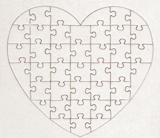 5 puzzles coeurs colorier puzzelman 660108 40 pi ces for Puzzle a colorier