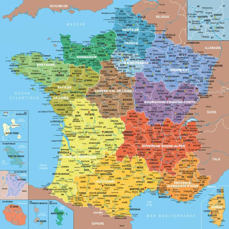 Puzzle en Bois - Carte de France avec Nouvelles Régions, 1 département = 1 pièce de puzzle ...
