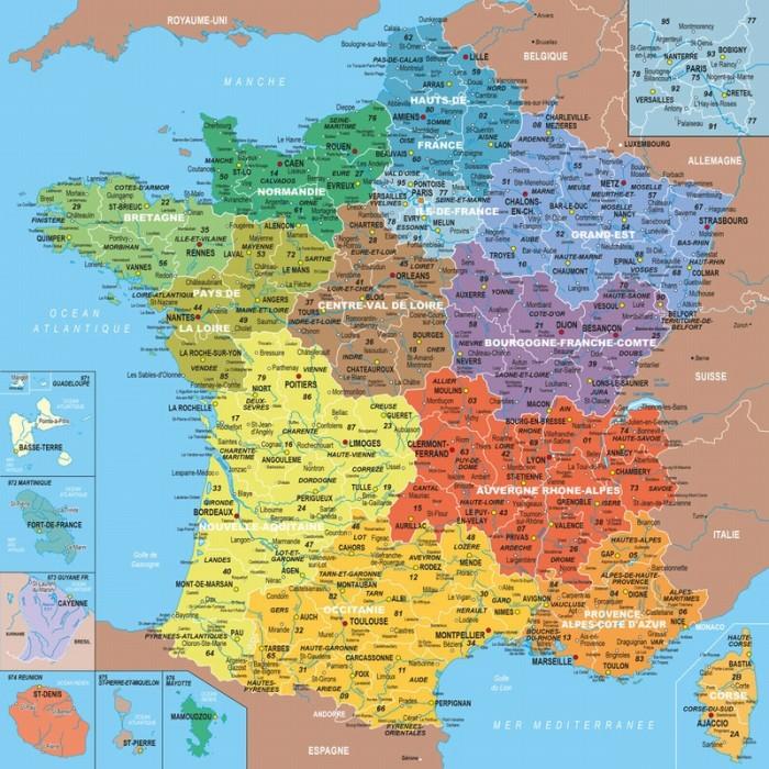 Puzzle en Bois - Carte de France avec Nouvelles Régions, 1 département = 1 pièce de puzzle