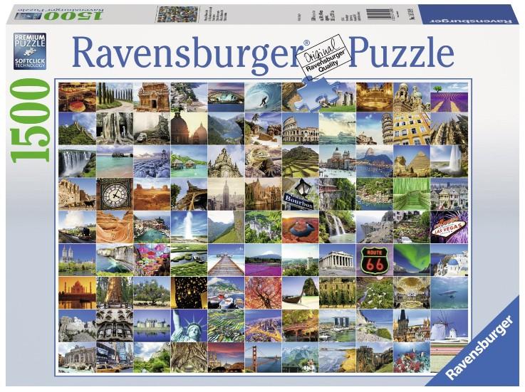 puzzle 99 plus beaux endroits du monde ravensburger 16319 1500 pi ces puzzles villes et. Black Bedroom Furniture Sets. Home Design Ideas