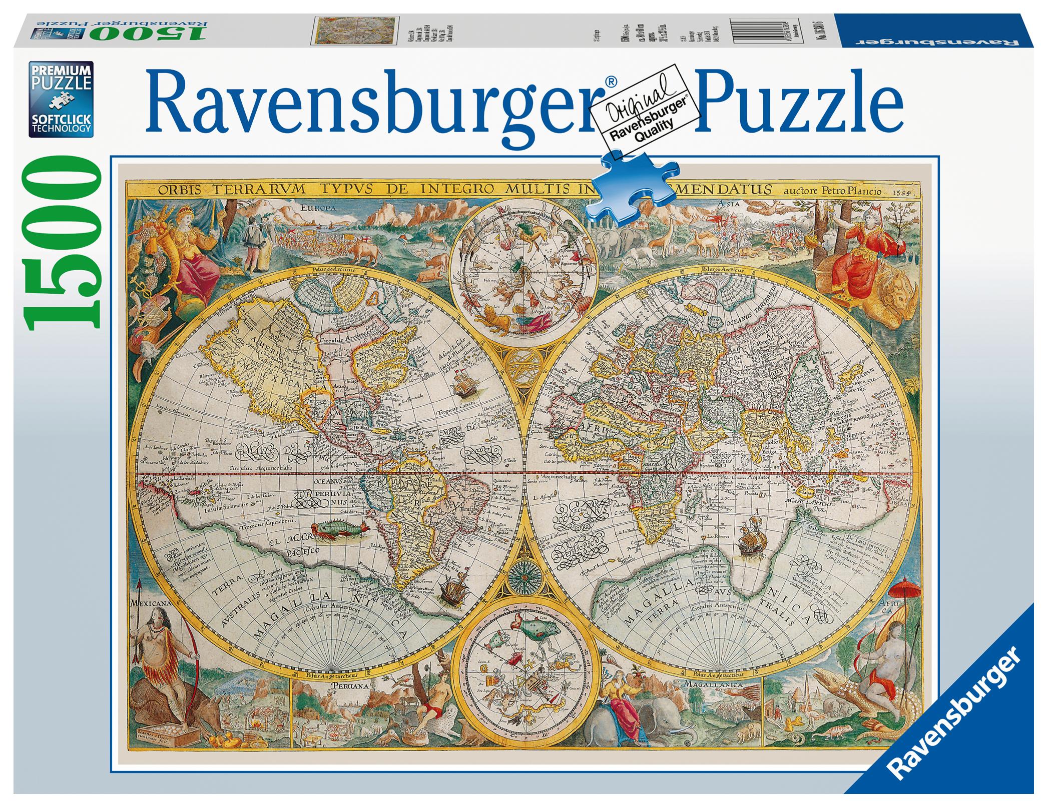 puzzle mappemonde en 1594 ravensburger 16381 1500 pi ces. Black Bedroom Furniture Sets. Home Design Ideas