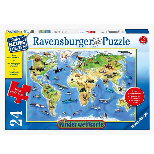 puzzle g ant carte du monde les animaux ravensburger 05502 24 pi ces puzzles cartes du. Black Bedroom Furniture Sets. Home Design Ideas