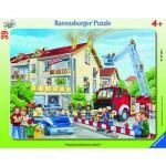 Ravensburger-06393 Puzzle cadre - Les pompiers en action