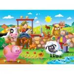 Ravensburger-07109 Puzzle Géant de Sol - Farmyard Friends