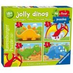 Ravensburger-07289 4 Puzzles - Jolly Dinos