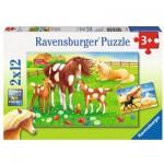 Ravensburger-07561 2 Puzzles - Crinières au Vent