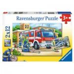 Puzzle  Ravensburger-07574 Pompiers et Policiers
