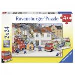 Ravensburger-08851 2 Puzzles - Accident de la Route et Incendie en Ville