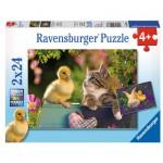 Ravensburger-09087 2 Puzzles - Les Amis