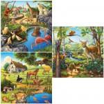 Ravensburger-09265 3 Puzzles - Animaux sauvages, domestiques et du zoo