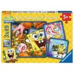 Ravensburger-09384 3 Puzzles - Bob l'Eponge