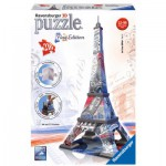 Ravensburger-12580 Puzzle 3D - Tour Eiffel Flag Edition