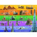 Puzzle  Ravensburger-12656 Tour du Monde des Monuments