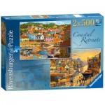 Ravensburger-14076 2 Puzzles - Coastal Retreats