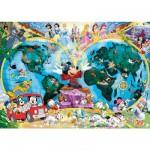 Puzzle  Ravensburger-15785 Mappemonde : Le Monde de Disney