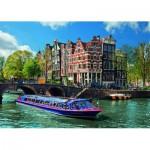 Puzzle  Ravensburger-19138 Pays-Bas, Les canaux d'Amsterdam