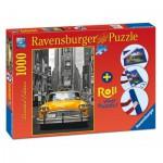 Ravensburger-19907 New York Taxi, Puzzle 1000 Pièces  + Tapis de Puzzle