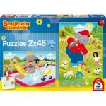 Schmidt-Spiele-56077 2 puzzles Benjamin Blümchen : A l'heure d'été