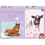 Schmidt-Spiele-56100 2 Puzzles - Le Poulain et le Veau