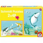 Schmidt-Spiele-56101 2 puzzles : Le petit requin blanc