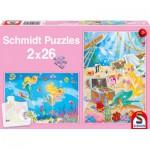 Schmidt-Spiele-56113 2 puzzles : La jolie sirène
