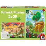 Schmidt-Spiele-56119 2 puzzles : Nos amis les dinosaures