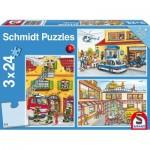 Schmidt-Spiele-56215 3 Puzzles - Pompiers et Secours