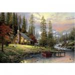 Puzzle  Schmidt-Spiele-58455 Thomas Kinkade : Maison de montagne