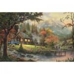 Puzzle  Schmidt-Spiele-58465 Thomas Kinkade : Idylle au bord de la rivière