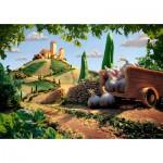 Puzzle  Schmidt-Spiele-59373 Carl Warner, Paysage Toscan, Paysage Culinaire