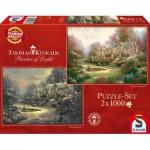 Schmidt-Spiele-59469 2 Puzzles - Thomas Kinkade: Cottage en Hiver et en Eté