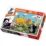 Puzzle  Trefl-18180 La petite Taupe - La cueillette des fleurs